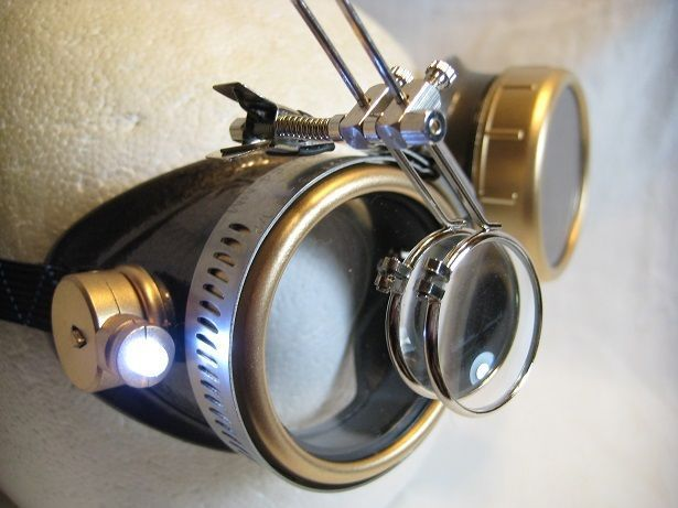 Steampunk goggles Victorian glasses novelty costume welding lens goth SSS blue