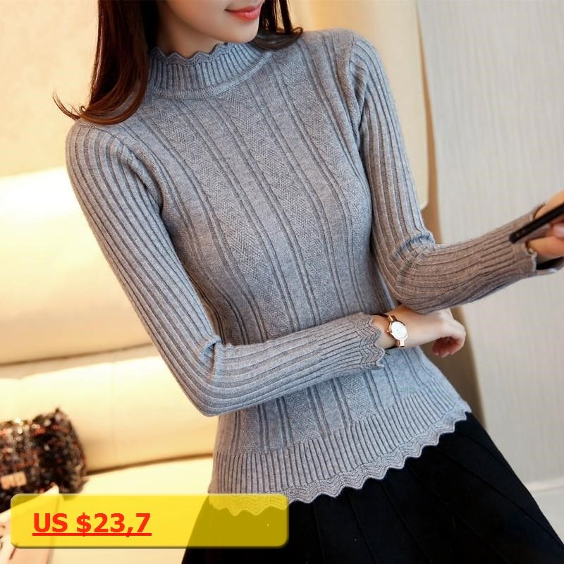 07fb15f562 OHCLOTHIN 2017 new Fashion half Korean women knitted sweater slim petal  collar shirt Elastic Bottoming Turtleneck