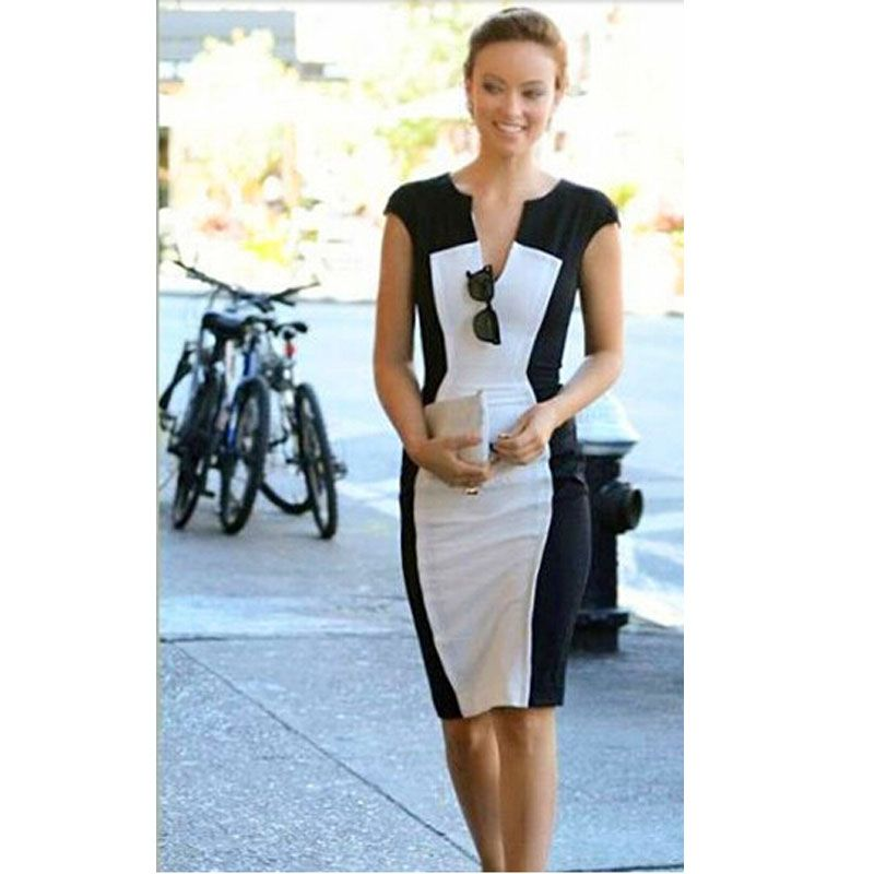 Sexy Club Dress 2015 Fashion Black and White V Neck Vestidos Sexy Bodycon Women Pencil Slimming Dress Work Office Dress 4-in Dresses from Women's Clothing & Accessories on Aliexpress.com | Alibaba Group