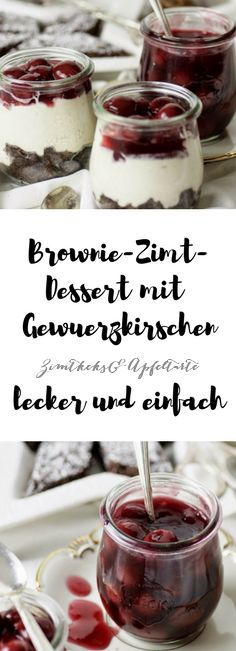 Zimt-Brownie-Cheesecake-Dessert mit Gewürzkirschen - Zimtkeks und Apfeltarte