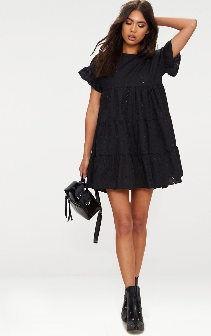 Black Broderie Anglaise Smock Dress Dresses Prettylittlething Usa Smock Dress Black Dresses Casual Fashion [ 1180 x 740 Pixel ]