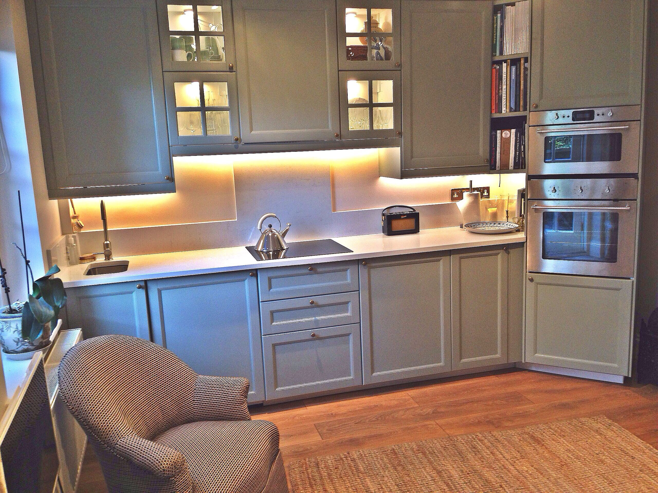 Best Ikea Kitchen Painted In Farrow Ball Pigeon With Quartz 400 x 300