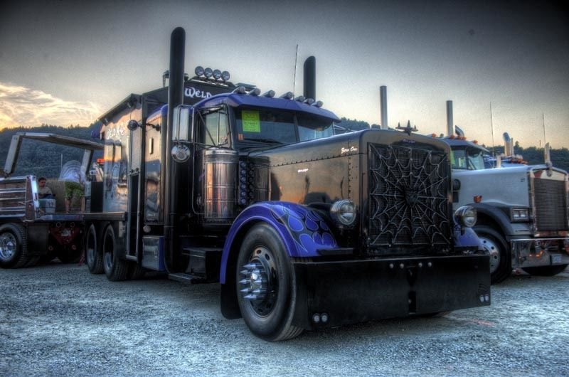 Blacked out and blue Peterbilt | Trucks, Diesel trucks ...