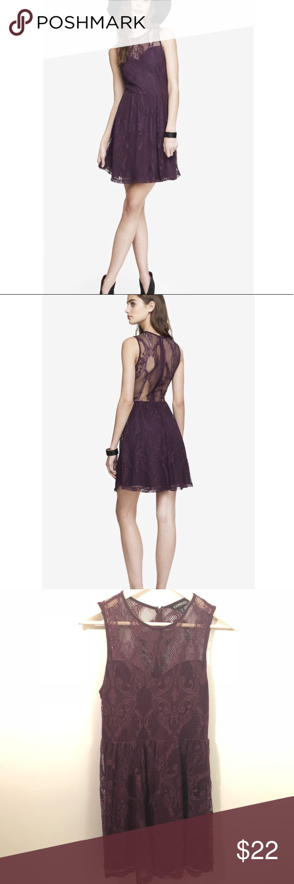 "Express Women s Maroon Purple Lace Skater Dress Express Women s Dark  Berry Maroon Purple Dress Excellent condition Size  small Armpit to armpit   16"" Length ... 18cbcd501"