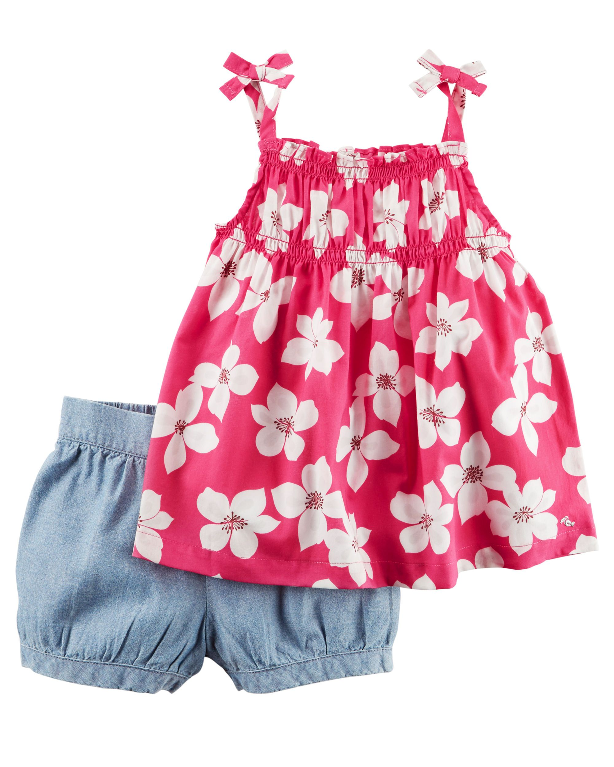 883961f4f Baby Girl 2-Piece Smocked Floral Tank Top & Chambray Bubble Short Set |  Carter's OshKosh Canada