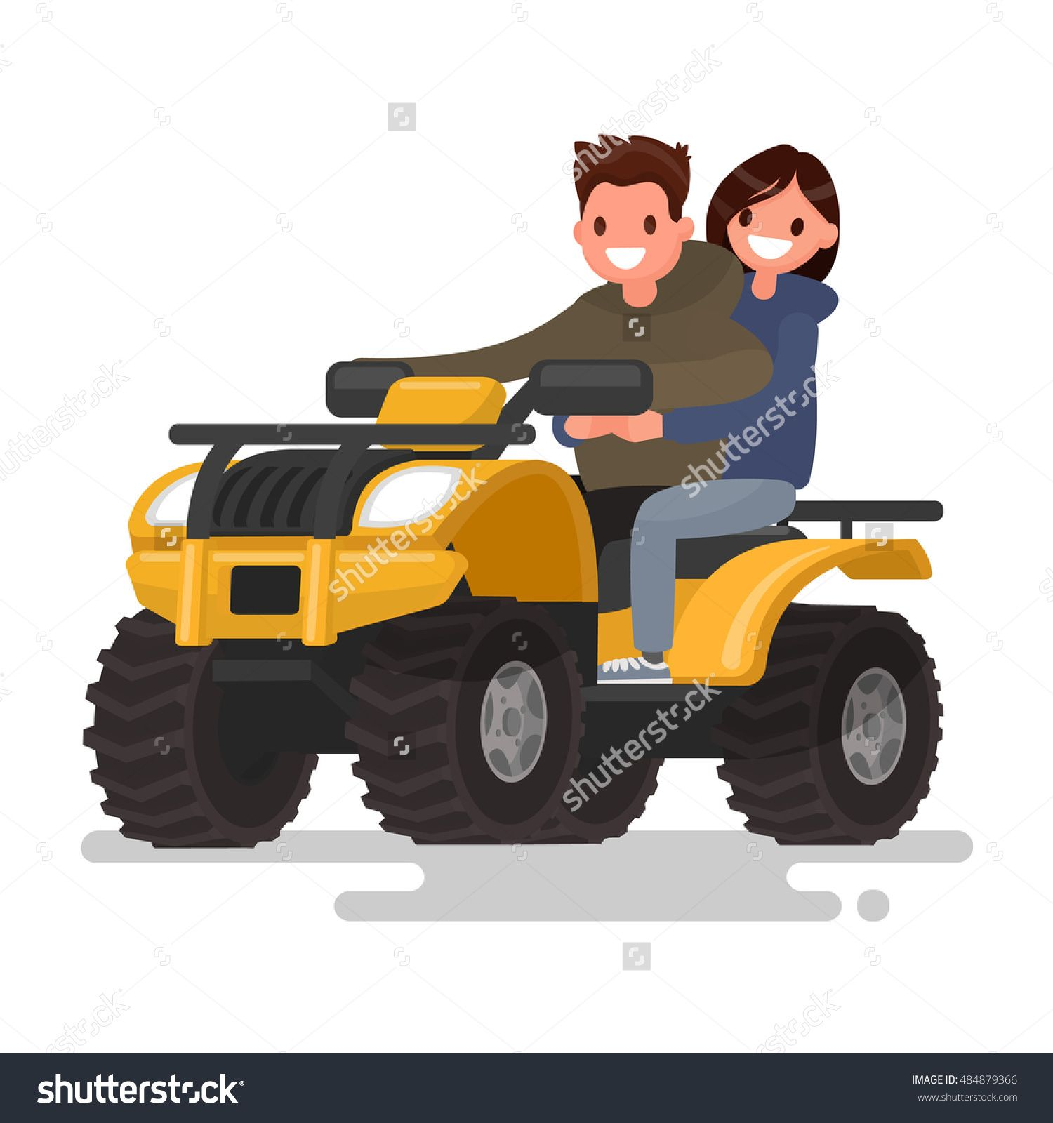 Active Holidays Quad Biking Man And Woman Are Riding A Atv