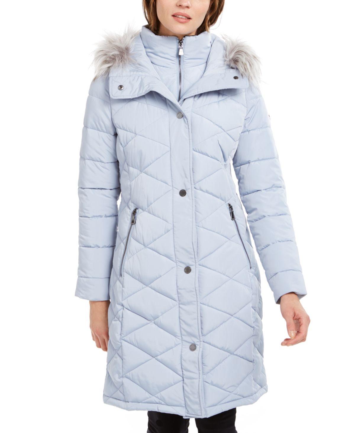 Calvin Klein Diamond Quilt Faux Fur Trim Hooded Puffer Coat Reviews Coats Women Macy S Leggings Are Not Pants Puffer Coat Coat [ 1466 x 1200 Pixel ]