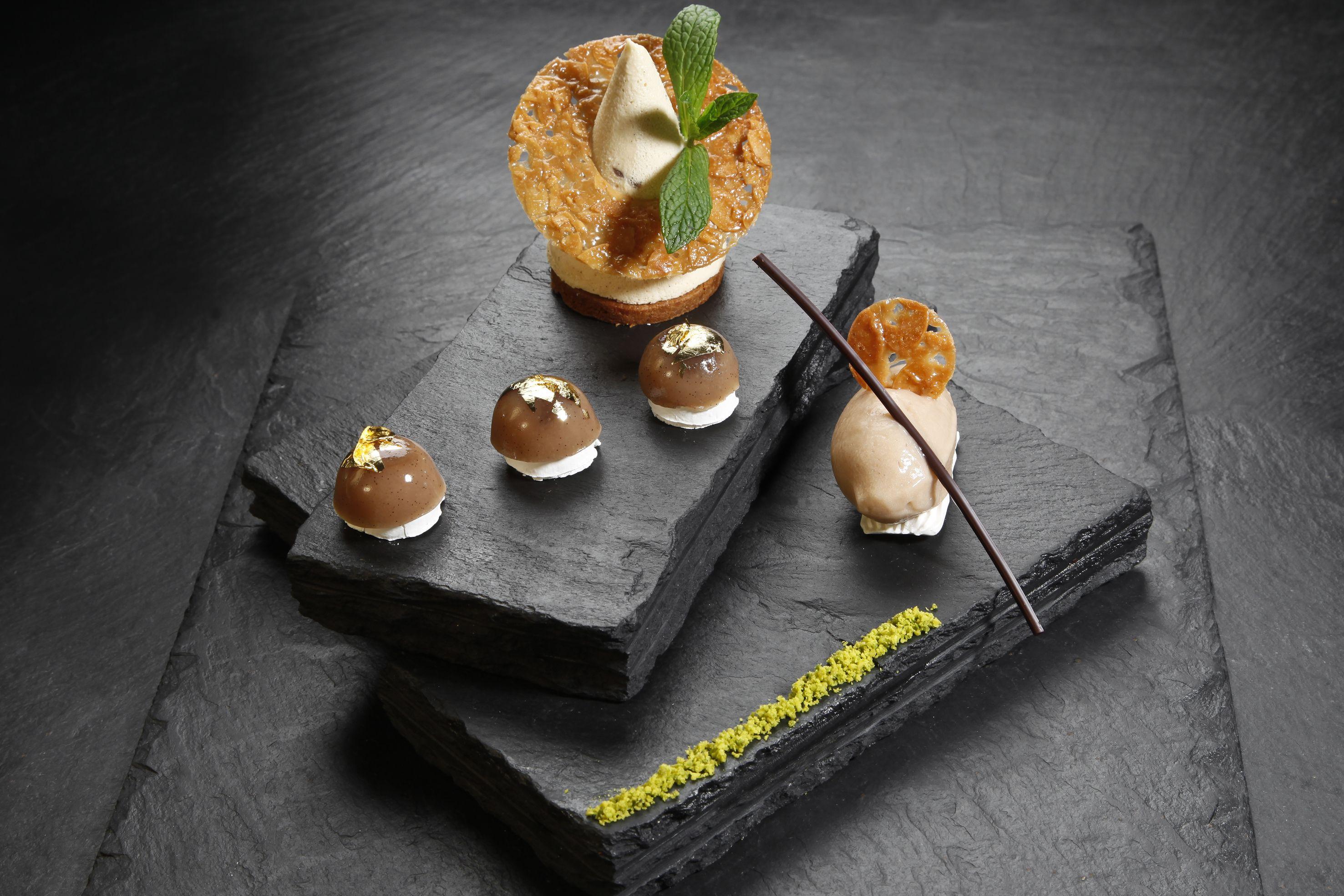 Rencontre entre le marron et la châtaigne… One of the courses in Vertig'O, Michelin star restaurant in Geneve