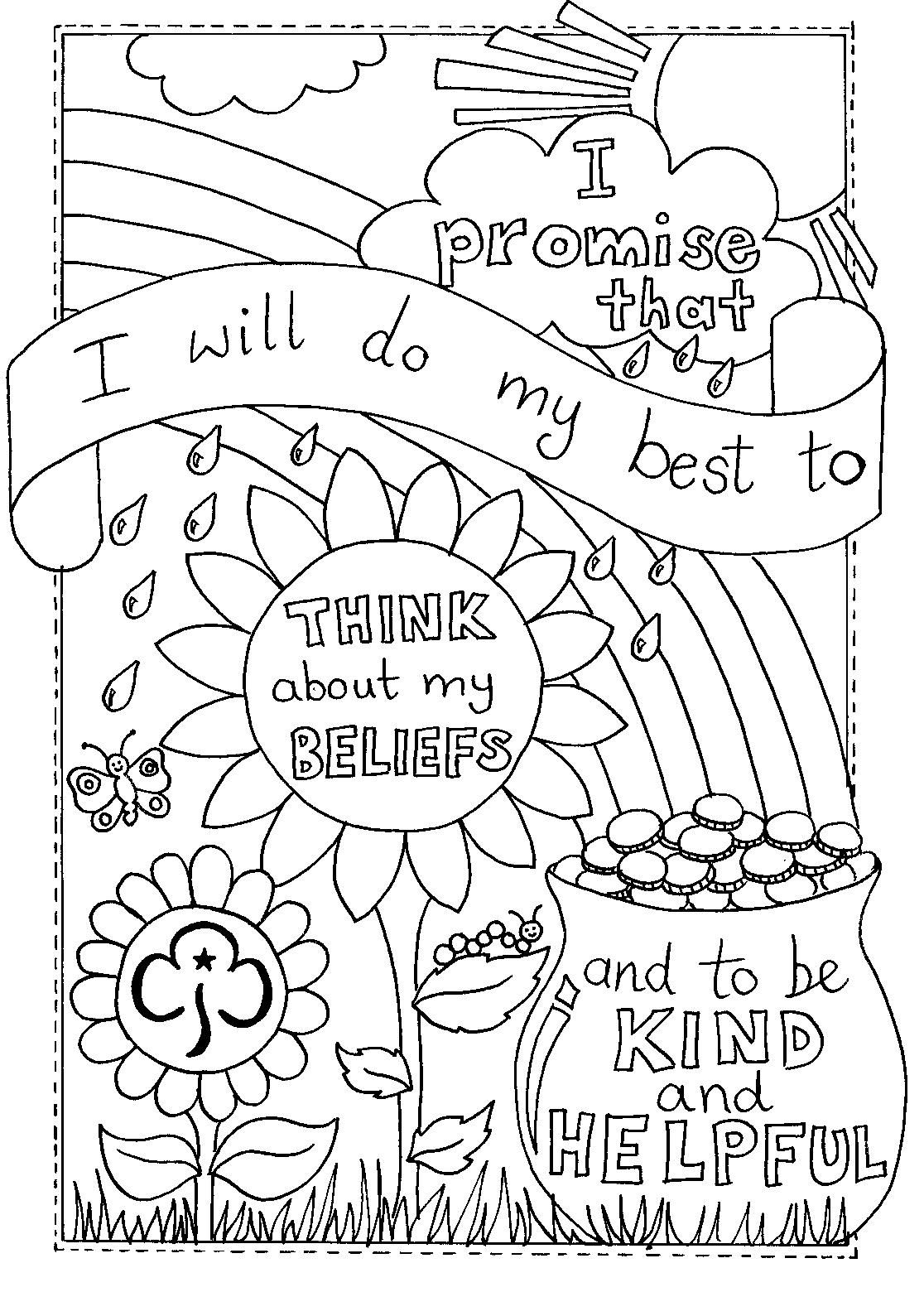 Rainbow Promise Colouring Sheet Girlguiding Girl Scout Daisy