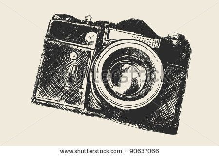 Camera Vintage Vector Png : Vectores black and white school photography camera clip art