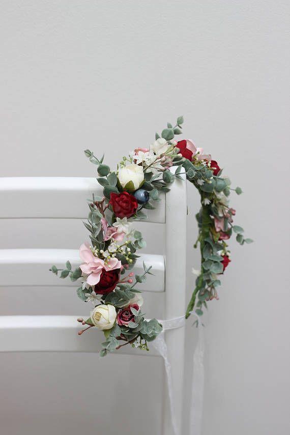 Eukalyptus Burgunder Rosa Blume Krone Braut Kopfschmuck Hochzeit Haar Kranz Flora Hochzeit Frisuren Blumenkranz Kopfschmuck Hochzeit Haarkranz Hochzeit