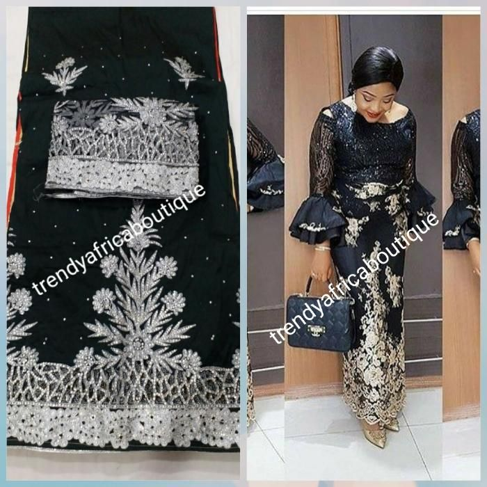 e29510f817df12 Nigerian Traditional wedding/Ceremony George for Bride or mother of Bride.  Black/silver stone work On Sale with free shipping within USA