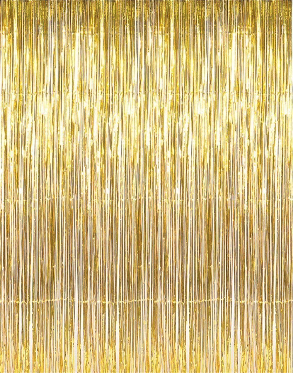 Metallic 3 ft X 8 ft. Gold Foil Fringe Curtains Door Window ...