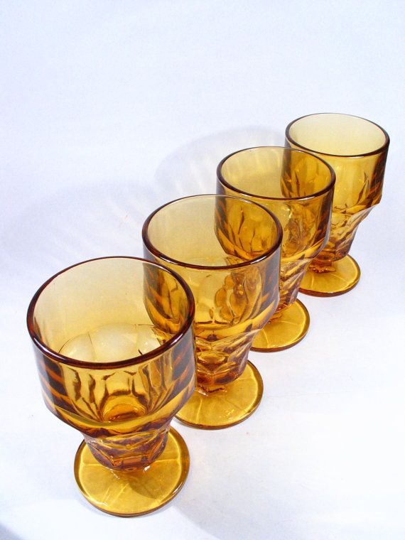 Vintage Amber Glassware Set Water Goblet Tumbler by a2ndlife, $17.25