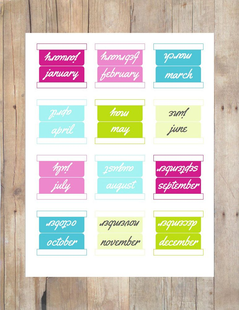 12 Month Tabs 5 Sets Multi Colored Printable Planner Tabs Divider Tabs File Tabs Instant Download