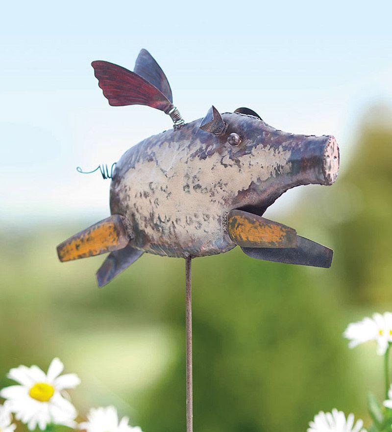 Handmade Metal Flying Pig Garden Stake Plow Amp Hearth