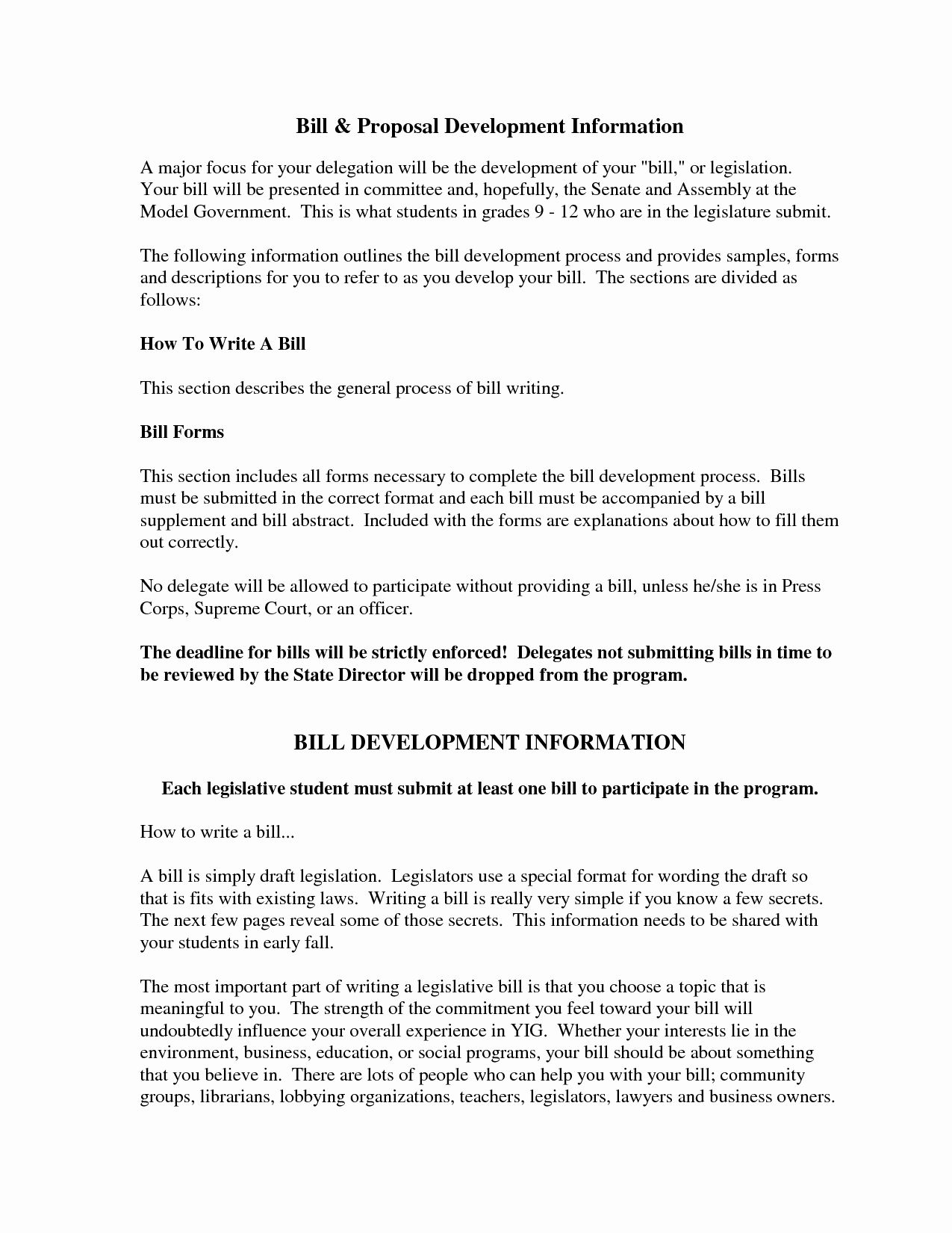 20 Bill Proposal Example In