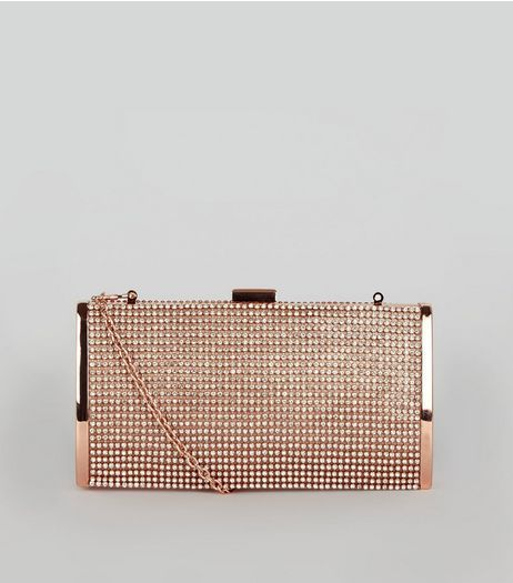 good texture top-rated discount stylish design Rose Gold Diamante Clutch | New Look | Bags in 2019 | Gold ...