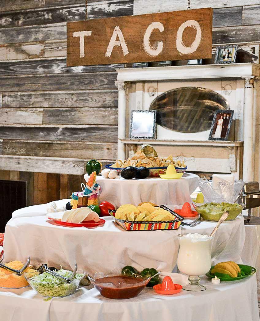 Wedding Reception Barn Décor Winter Taco Bar