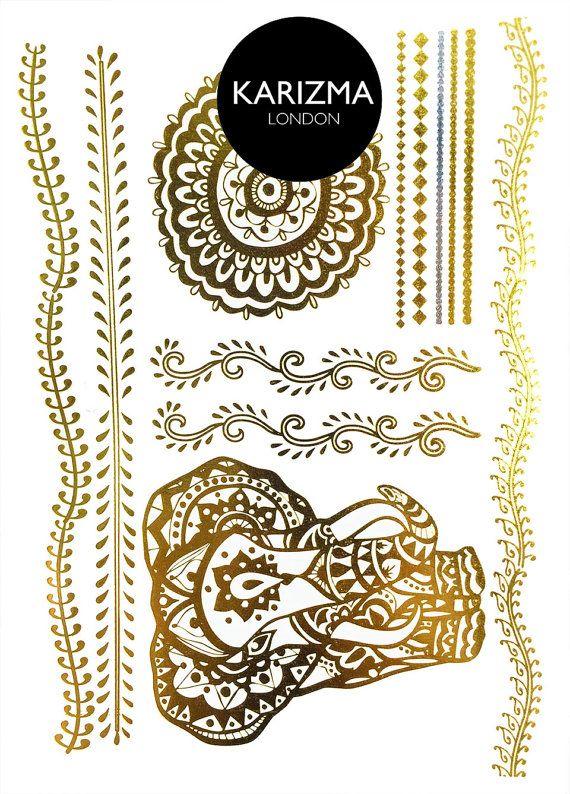 Henna Elephant Metallic Temporary Tattoo Flash Tattoo Temporary ...