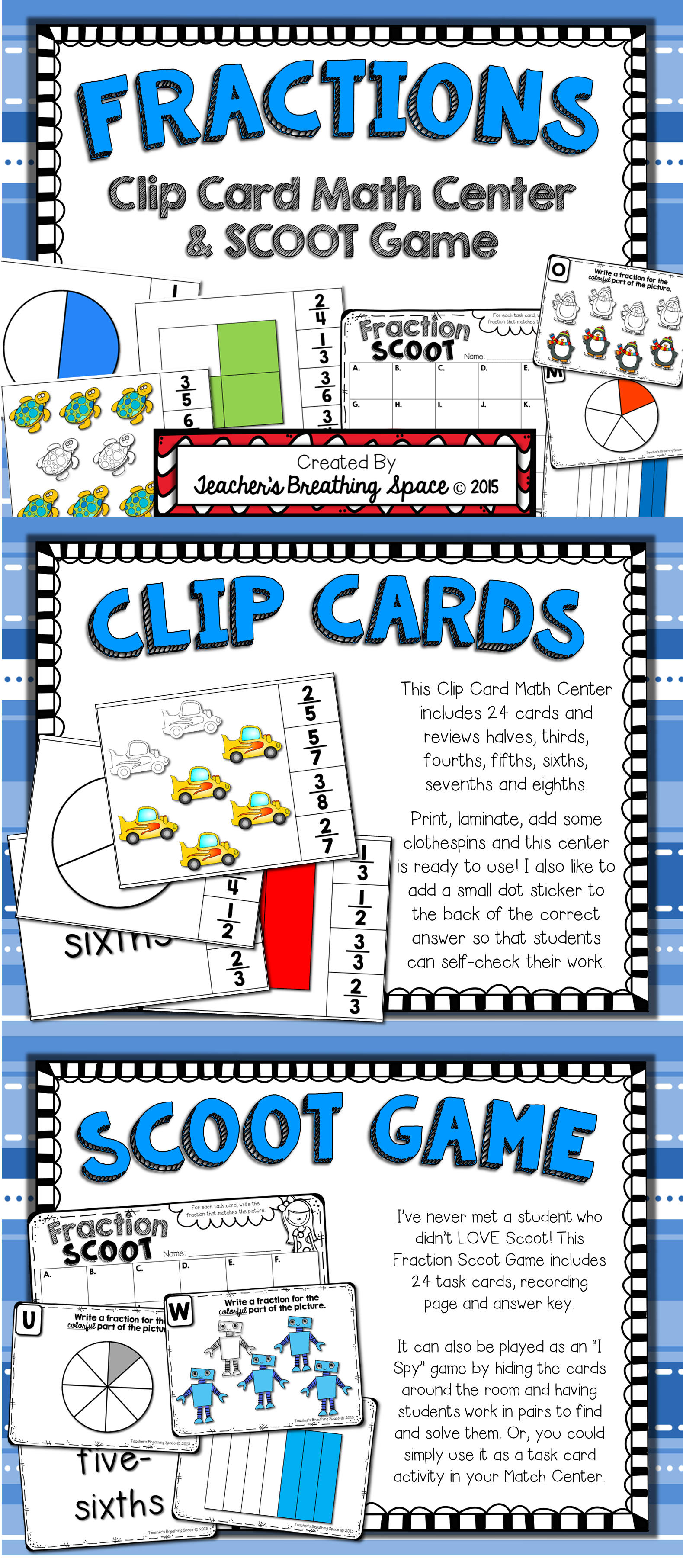 Fractions Fractions Clip Cards Math Center Fractions Scoot
