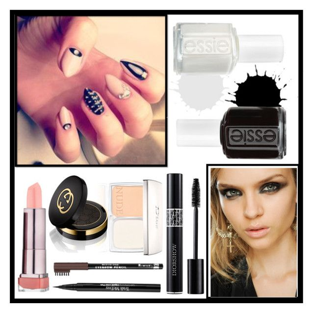 """""""Black & White"""" by melody-starz ❤ liked on Polyvore featuring beauty, Essie, Trish McEvoy, Rimmel, Christian Dior and Gucci"""