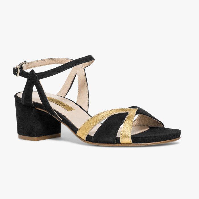 Sandale noire en velours