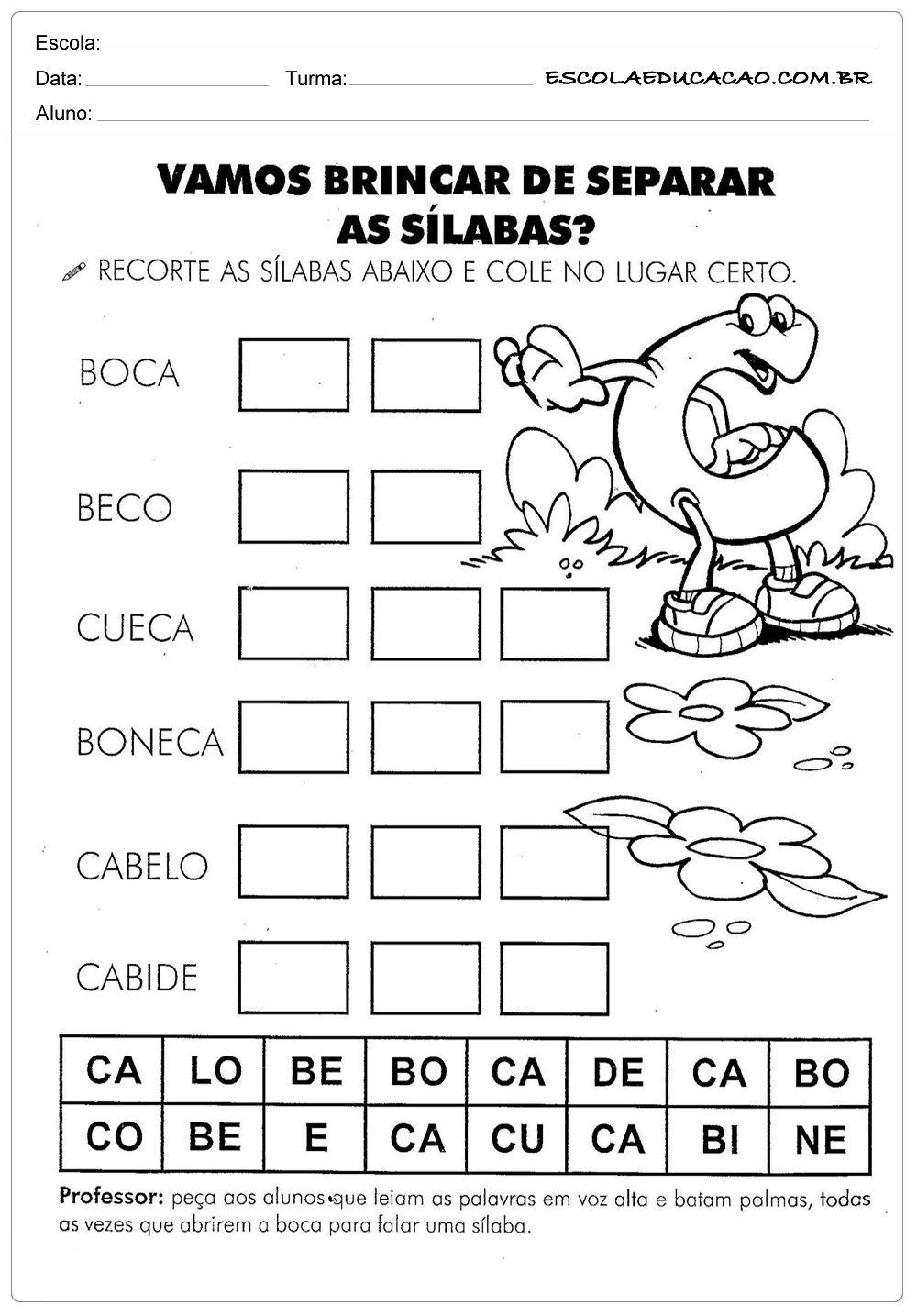 Atividades Com A Letra C Separar As Silabas Atividades Letra E