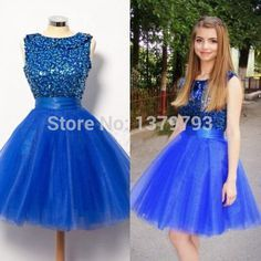 Royal Blue A Line Short Prom Dresshomecoming Dresso Neck