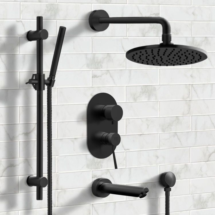 Photo of Matt black bathtub and shower system with 8
