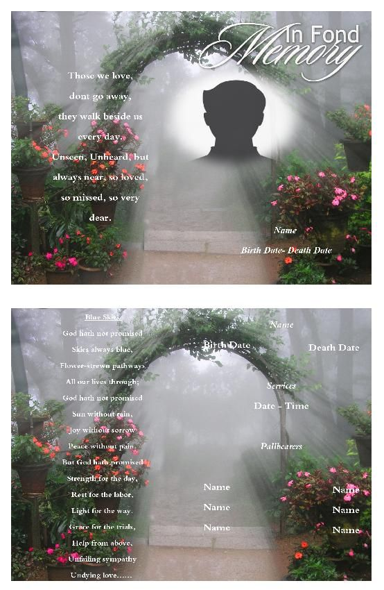Create funeral program using funeral template Select Size, Pages - free funeral programs