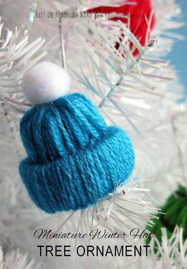 Miniature Winter Hat Christmas Tree Ornament Yarn Craft