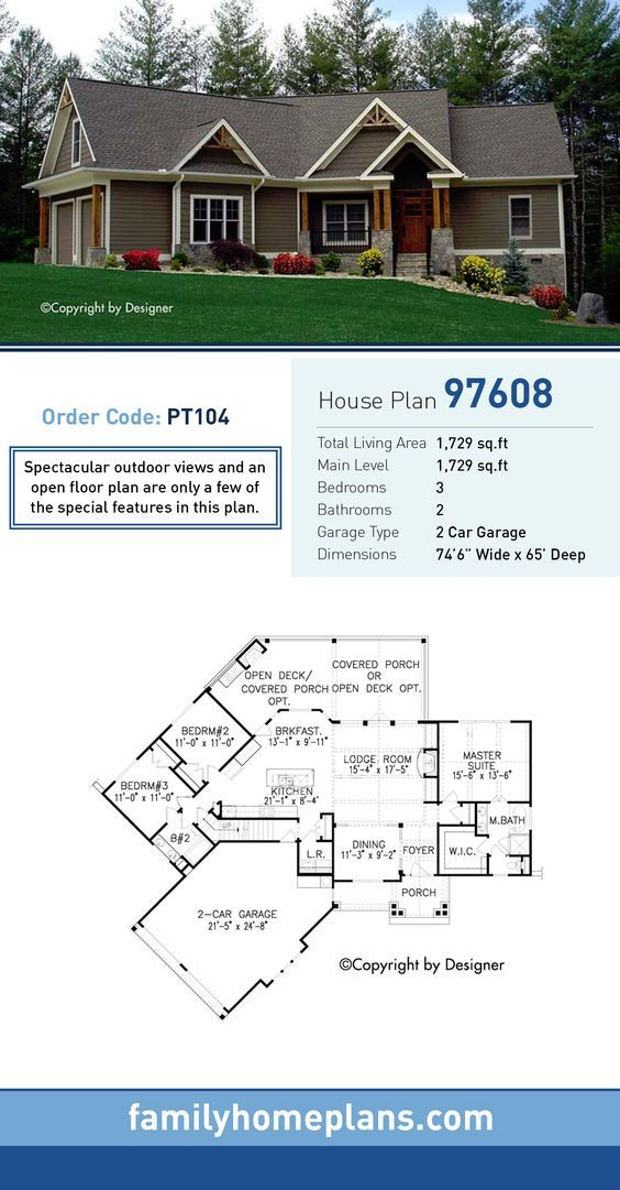 Traditional Style House Plan 97608 With 3 Bed 2 Bath 2 Car Garage Craftsman House Plans House Blueprints House Plans Farmhouse