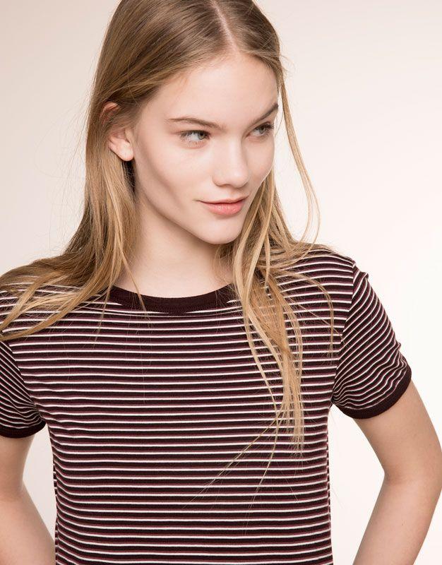 71c7a028e8cd0 Pull Bear - woman - t-shirts   tops - tricolor striped t-shirt - burgundy -  05238354-V2016