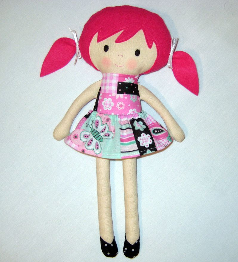 Fabric Doll Rag Doll Cloth Doll Pink Haired Girl Patchwork