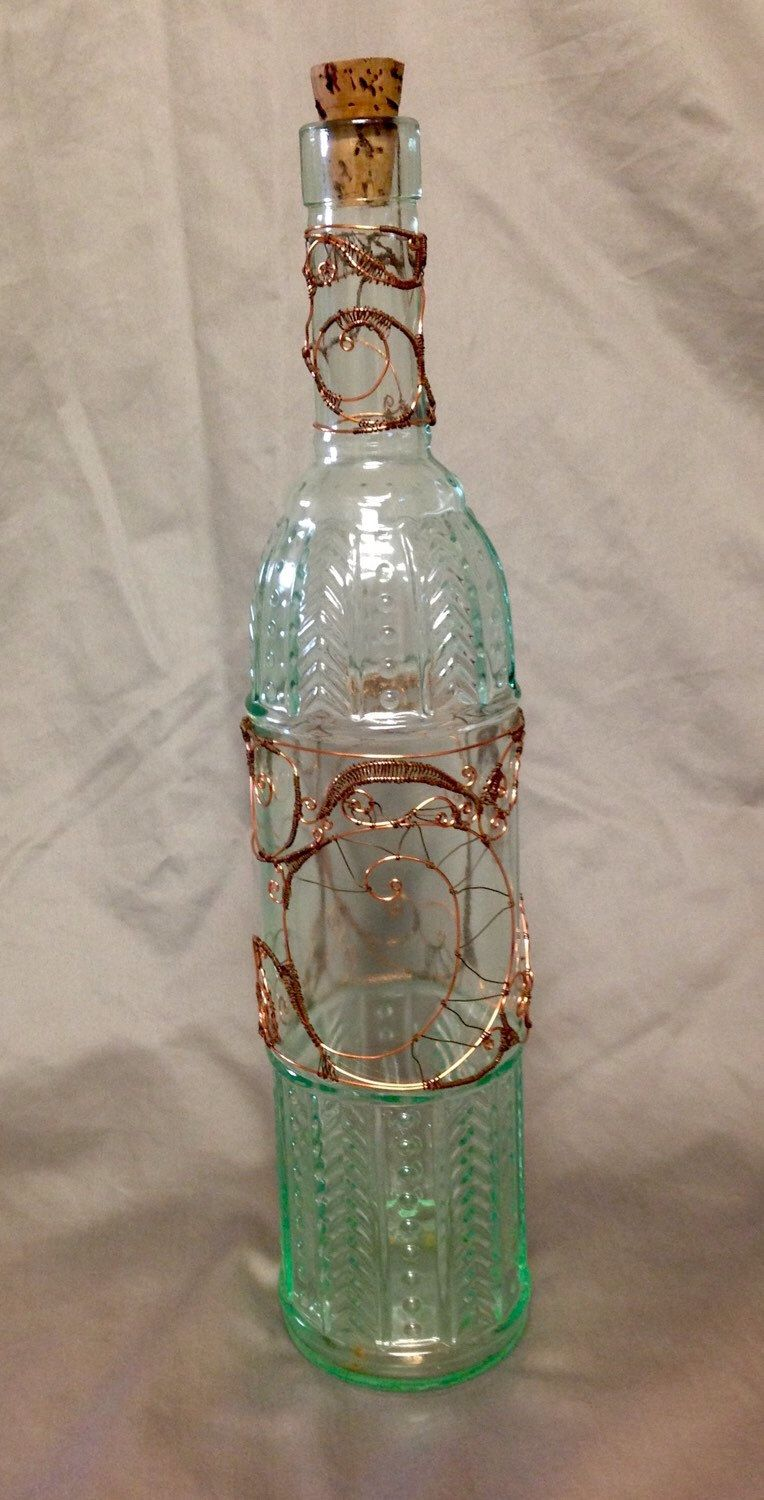 A Wire Wrapped Bottle From My Etsy Shop Https Www Etsy Com Listing 257557049 Wire Wrapped Glass Bottle Glass Bottles Wine Bottle Diy Bottle