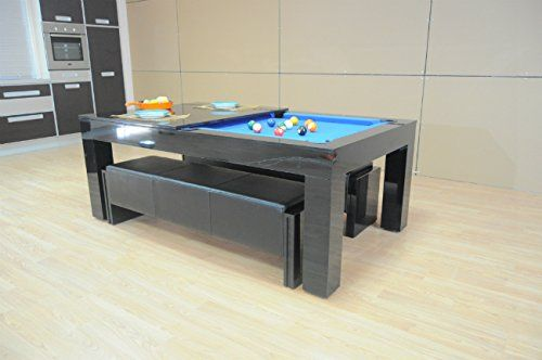 SAM Leisure Duo Milano Pool Dining Table Piano Black Gloss With - Pool dining table with bench