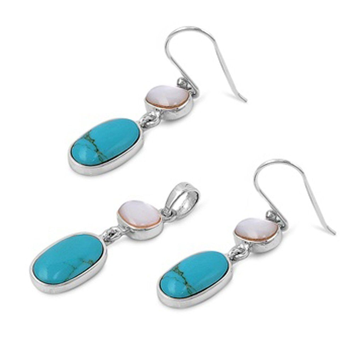 Oval hanging earrings simulated turquoise simulated mother of pearl