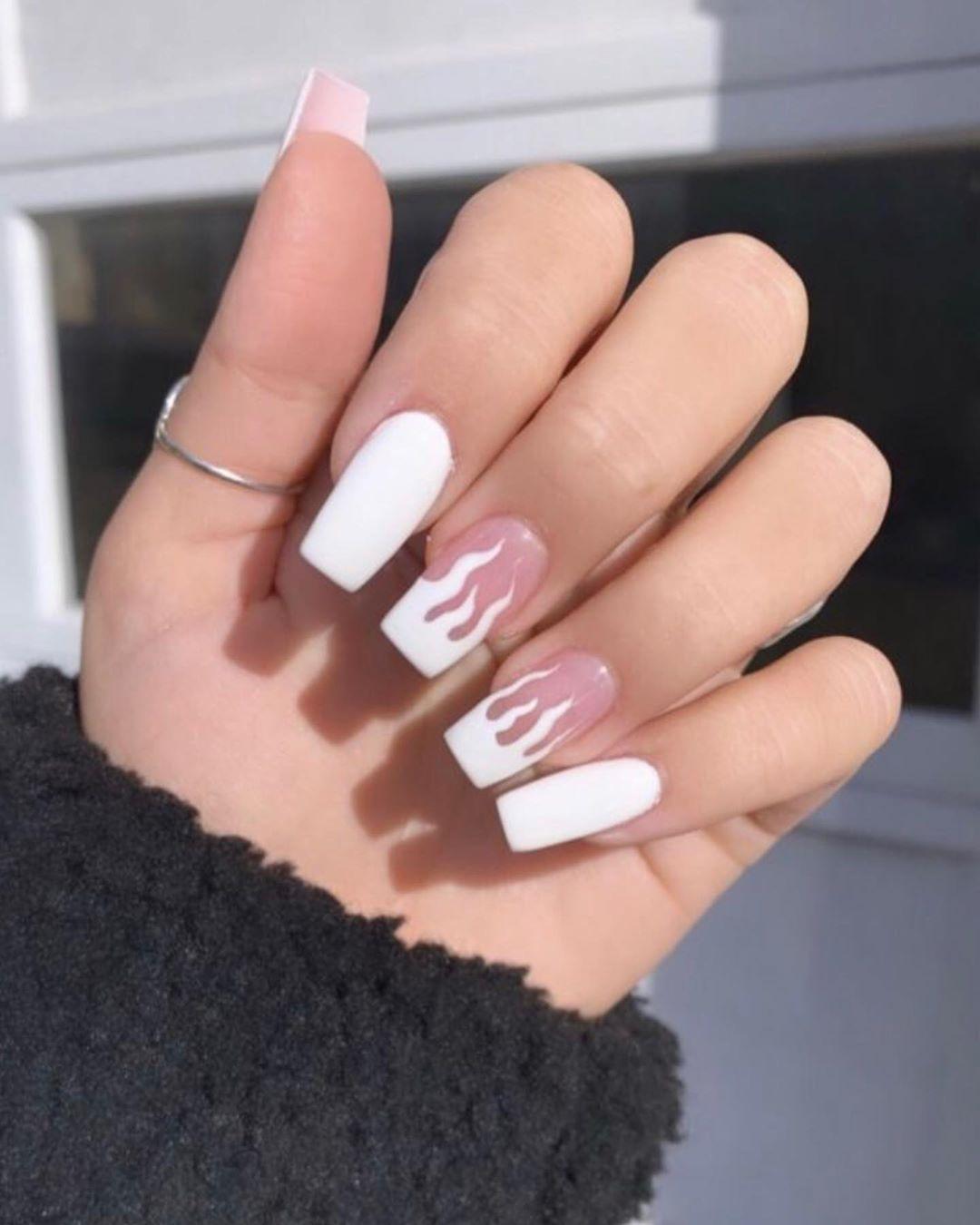 Acylicnails Baddie Glitternails Nail Fairy Nails Like Follow Followme Nailfie Flames Wh Square Acrylic Nails Fake Nails Short Acrylic Nails Designs