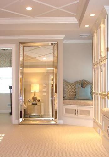 Venetian Frameless Floor Mirror To Disguise Door Traditional