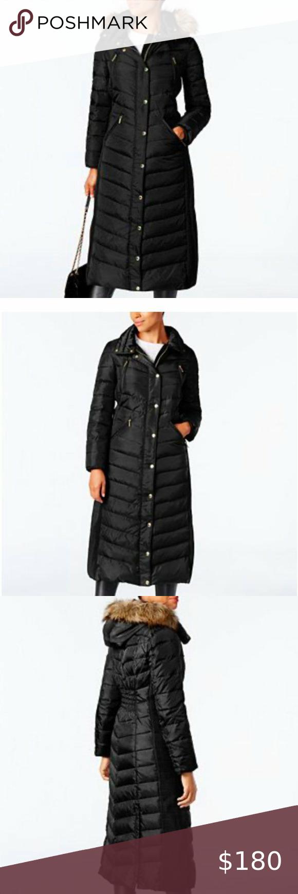 Michael Kors Faux Fur Trim Hooded Down Coat Chic Coat Down Coat Black Puffer Jacket [ 1740 x 580 Pixel ]