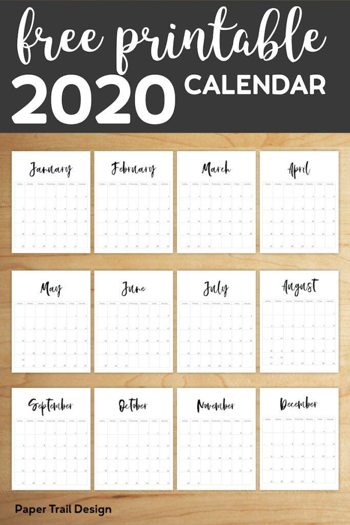 Modele De Calendrier 2020.Free Printable 2020 Calendar Template Pages Organisation
