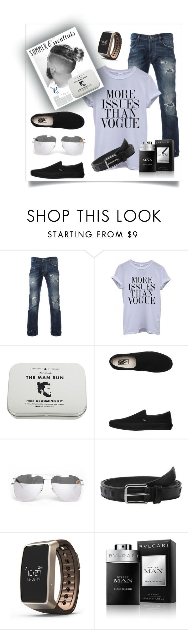 """Untitled #192"" by jaima ❤ liked on Polyvore featuring Men's Society, Vans, Yves Saint Laurent, The Kooples, MyKronoz, BCBGMAXAZRIA, Bulgari, men's fashion, menswear and summermenswearessentials"
