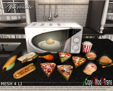 Aphrodite modern silver working microwave- New Kitchen appliances line- Delivers fast food: burger, pizza, popcorn &more