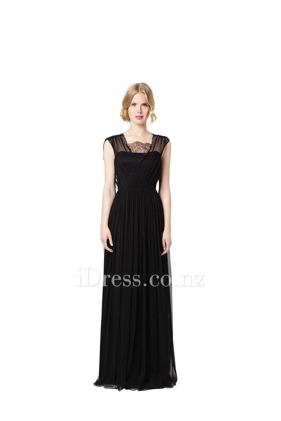 Black Wide Strap Long Chiffon Bridesmaid Dress with Lace Patterns ...