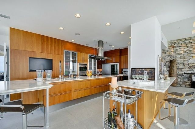 Cuisine moderne maison floride pierre seche bois interieur design bar