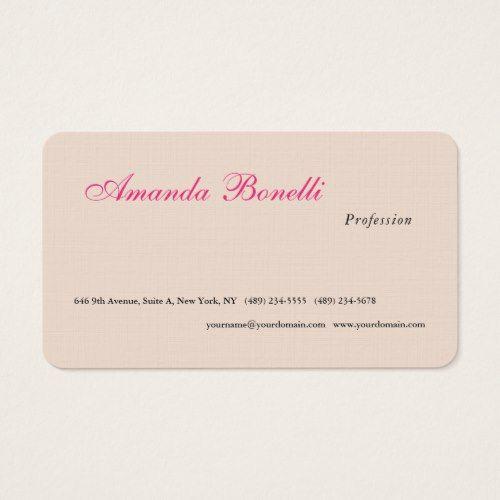 Luxury linen champagne pink plain minimalist business card luxury linen champagne pink plain minimalist business card reheart Image collections