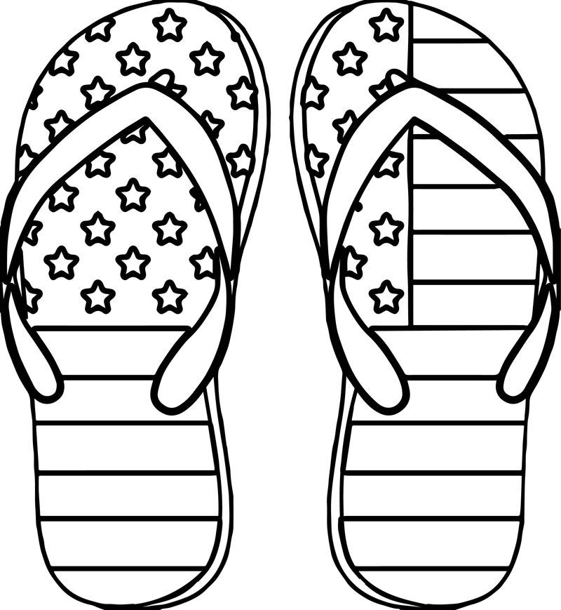 4th July Slipper Coloring Page Easy Coloring Pages Coloring Pages For Kids July Colors