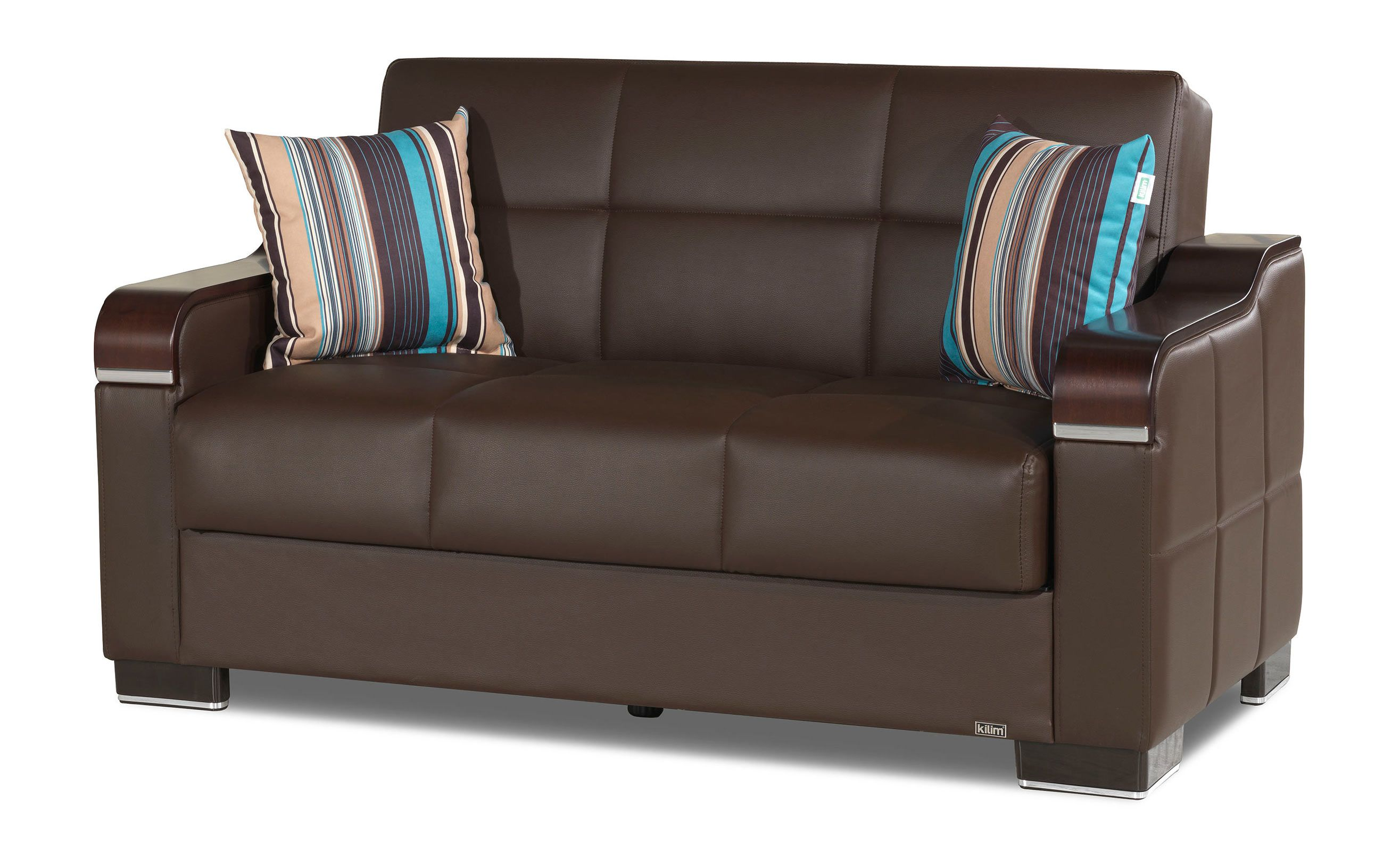 Uptown Brown PU Leather Convertible Loveseat by Casamode