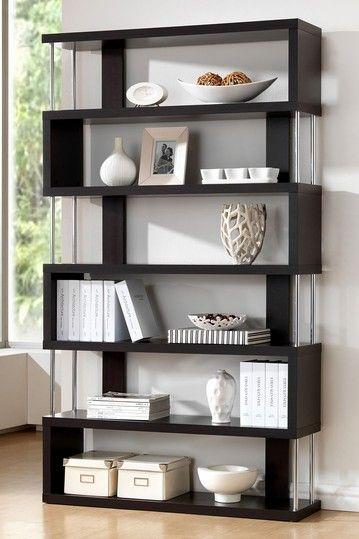 Barnes Dark Wenge 6 Shelf Modern Bookcase in a dark brown color